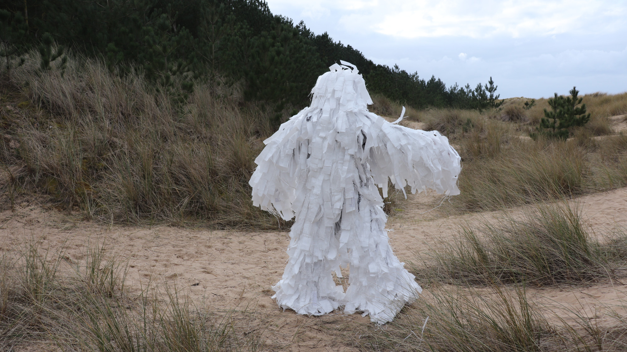 Polyprothene Creature, Full body suit made from recycled polypropylene rubble sacks, Image taken on Canon 800d