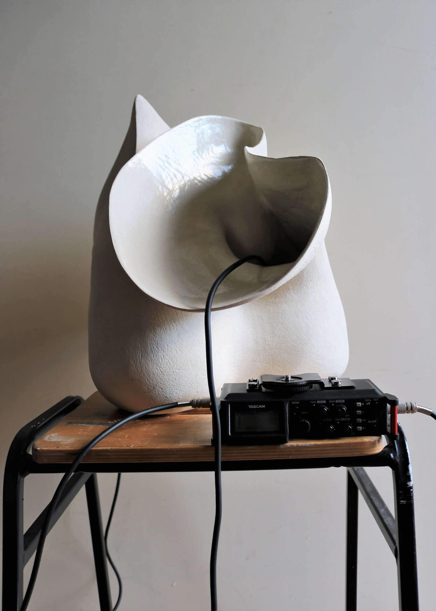 Objects listening II, 2020, Installation - Ceramic, water, lab stool, hydrophones, digital recorder, speaker, headphones - Sarah Strachan