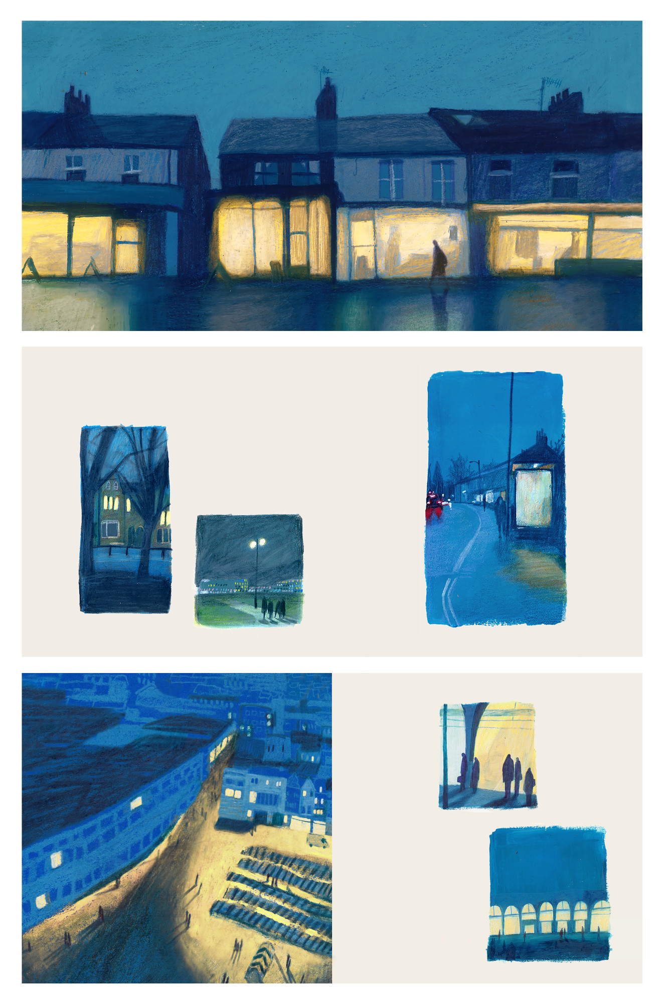 Three selected layouts from the book 'Habitats', which explores figures and light sources at night. This work was selected for the AOI World Illustration Awards long-list. The whole book can be found on Jodie's website. Jodie Howard.