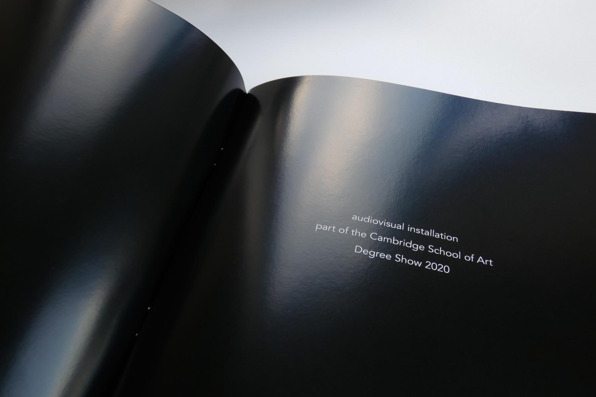 The first page of the exhibition catalogue was designed for the physical degree show that was going to take place in summer of 2020. Diana Montañez Rivera.
