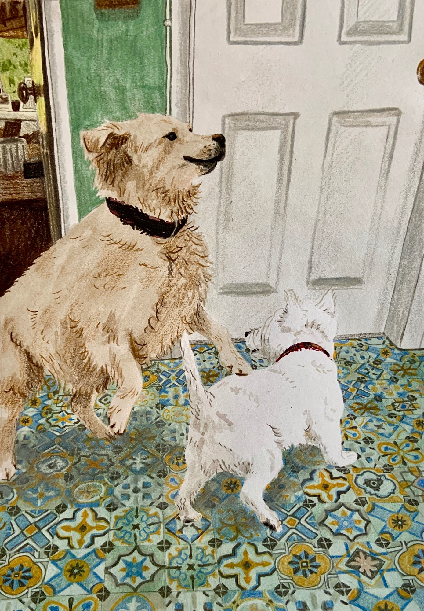 Visitors! Maisy and Fergus playing in the hall, gouache and pencil. Alice Richards
