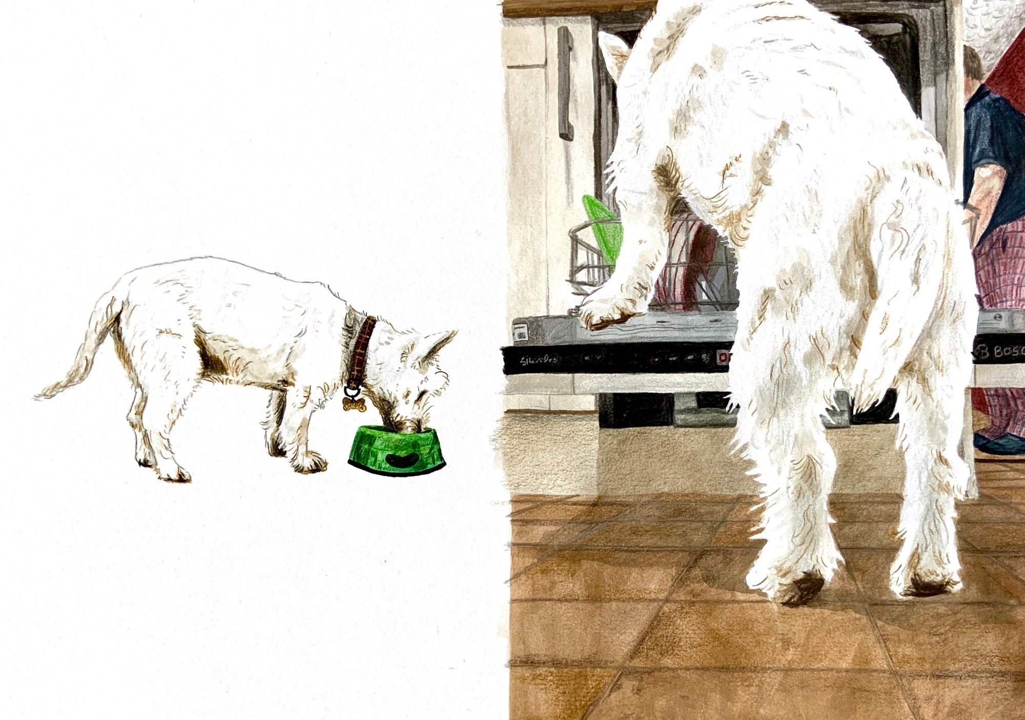 Breakfast! and helping mum clean her plate. Gouache and pencil. Alice Richards